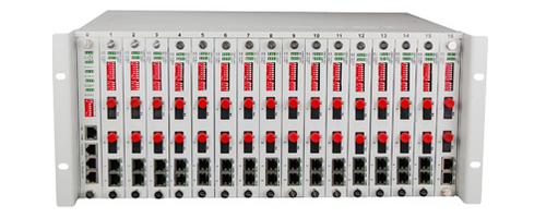 32 fiber optical directional 4U rack type fiber media converter, with SNMP managed function